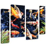 Koi 4 piece gallery-wrapped canvas Gallery Wrapped Canvas by George Zucconi