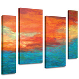 Lake Reflections II 4 piece gallery-wrapped canvas Stretched Canvas Print by Herb Dickinson