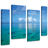 Lagoon and Reef 4 piece gallery-wrapped canvas Stretched Canvas Print by George Zucconi