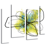 Citron Petals II 4 piece gallery-wrapped canvas Stretched Canvas Print by Jan Weiss