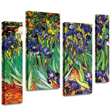 Irises in the Garden 4 piece gallery-wrapped canvas Stretched Canvas Print by Vincent van Gogh