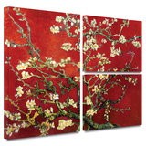Interpretation in Red Almond Blossom Gallery-Wrapped Canvas Gallery Wrapped Canvas Set by Vincent van Gogh
