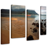 Hanalei Bay at Dawn 4 piece gallery-wrapped canvas Stretched Canvas Print by Kathy Yates