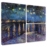 Starry Night over the Rhone Gallery-Wrapped Canvas Gallery Wrapped Canvas Set by Vincent van Gogh