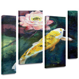 Michael Creese Koi and Lotus Flower 4 piece gallery-wrapped canvas Gallery Wrapped Canvas Set by Michael Creese