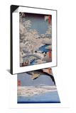 Aigle au-dessus des champs de Susaki a Fukagawa & Le pont Taiko et la colline Yushi a Meguro Set Prints by Ando Hiroshige