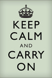 Keep Calm and Carry On (Motivational, Mint Green) Art Poster Print Prints