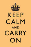 Keep Calm and Carry On (Motivational, Beige) Art Poster Print Posters