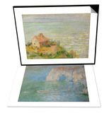 Etretat, the Cliff, Reflections on Water; 1885 & The Shack of the Customs Officials, Afternoon Set Posters by Claude Monet