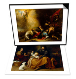 Holy Family with Baby Sparrow & Conversion of Saint Paul Set Posters by Bartolome Esteban Murillo