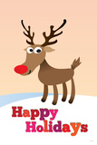 Happy Holidays (Rudolf the Red-Nosed Reindeer) Art Poster Print Poster