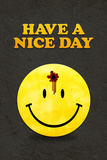 Have a Nice Day Smiley Face with Bullet Hole Black Art Print Poster Print