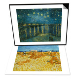 Harvest in Provence of Wheat Field with Sheaves, c.1888 & La nuit etoilee, Arles Set Print by Vincent van Gogh