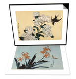 Orchidees orange & Hortensia et hirondelle Set Prints by Katsushika Hokusai