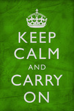 Keep Calm and Carry On (Motivational, Green, Wrinkled) Art Poster Print Poster