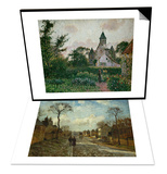 Street in Louveciennes, 1872 & The Church in Knocke, 1894 Set Art by Camille Pissarro