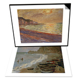 Etretat: The Beach and Harbour of Amont, 1883 & Beach at Pourville, Sunset, 1882 Set Prints by Claude Monet