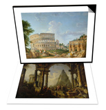 Alexandre le Grand devant le tombeau d'Achille & The Colosseum, Rome Set Prints by Giovanni Paolo Pannini