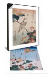 Hirondelle et pie sur fraisier et begonia & Gros-bec et mirabilis Set Prints by Katsushika Hokusai