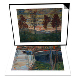 Boats Mirrored in the Water, 1908 & Four Trees, 1917 Set Prints by Egon Schiele