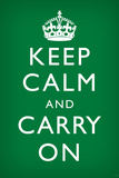 Keep Calm and Carry On (Motivational, Faded Green) Art Poster Print Posters