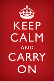 Keep Calm and Carry On (Motivational, Faded Red) Art Poster Print Print
