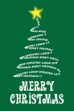 Merry Christmas (Tree) Art Poster Print Photo