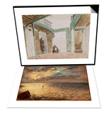 La Mer vue des hauteurs de Dieppe & Une cour a Tanger ; 1832 Set Prints by Eugene Delacroix