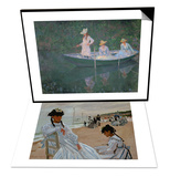 On the Beach at Trouville, 1870-71 & The Boat at Giverny, The Three Daughters of Mme. Hoschede Set Posters by Claude Monet