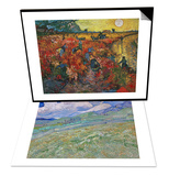 Wheatfield and Mountains, c.1889 & The Red Vineyard at Arles, c.1888 Set Prints by Vincent van Gogh