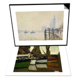 Fishing Boats, Honfleur, 1866 & The Thames Below Westminster Set Prints by Claude Monet