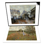 Promenade Near Argenteuil, 1873 & Le Pont De L'Europe, Gare Saint-Lazare, 1877 Set Prints by Claude Monet