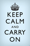 Keep Calm and Carry On (Motivational, Faded Light Blue) Art Poster Print Poster
