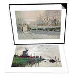 Windmill at Zaandam (Netherlands), 1871 & The Magpie, Etretat, Winter 1868-69 Set Print by Claude Monet