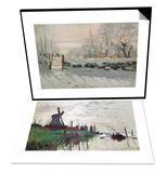 Windmill at Zaandam (Netherlands), 1871 & The Magpie, Etretat, Winter 1868-69 Set Print by Claude Monet