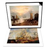 Battle of Trafalgar & Sun Rising Through Vapour: Fishermen Cleaning and Selling Fish Set Art by J. M. W. Turner