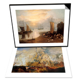 Battle of Trafalgar & Sun Rising Through Vapour: Fishermen Cleaning and Selling Fish Set Art by William Turner