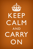 Keep Calm and Carry On (Motivational, Faded Brown) Art Poster Print Print