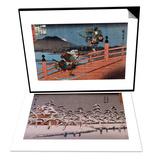 Vue d'un temple sous la neige & Combat de samourai Set Prints by Ando Hiroshige