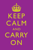Keep Calm and Carry On Motivational Purple Art Print Poster Prints