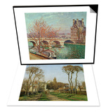Entry into the Village of Voisins (Yvelines), 1872 & Pont Royal and the Pavillon De Flore, 1903 Set Prints by Camille Pissarro