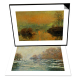 Ice Floes Near Vetheuil & Setting Sun on the Seine at Lavacourt, Effect of Winter Set Prints by Claude Monet