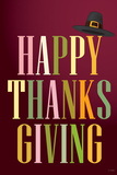 Happy Thanksgiving (Colorful, Dark) Art Poster Print Posters