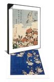 Bouvreuil et cerisier pleureur en fleur & Coucou et azalees Set Posters by Katsushika Hokusai
