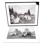 American Pioneer Family, C.1870 & Native American Teepee Camp, Montana, C.1900 Set Posters by  American Photographer