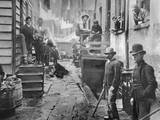 Men Gathered in Bandit's Roost Photographic Print by Jacob August Riis