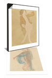 Danseuse & Femme nue, portant une veste brune Set Prints by Auguste Rodin