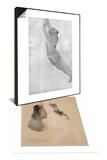 Femme assise nue sous une veste & Dessin Set Print by Auguste Rodin