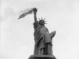 Usa, New York State, New York City, Statue of Liberty with Flag Photographic Print