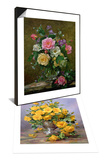 Bright Smile - Roses in a Silver Vase & Roses in a Glass Vase Set Poster by Albert Williams